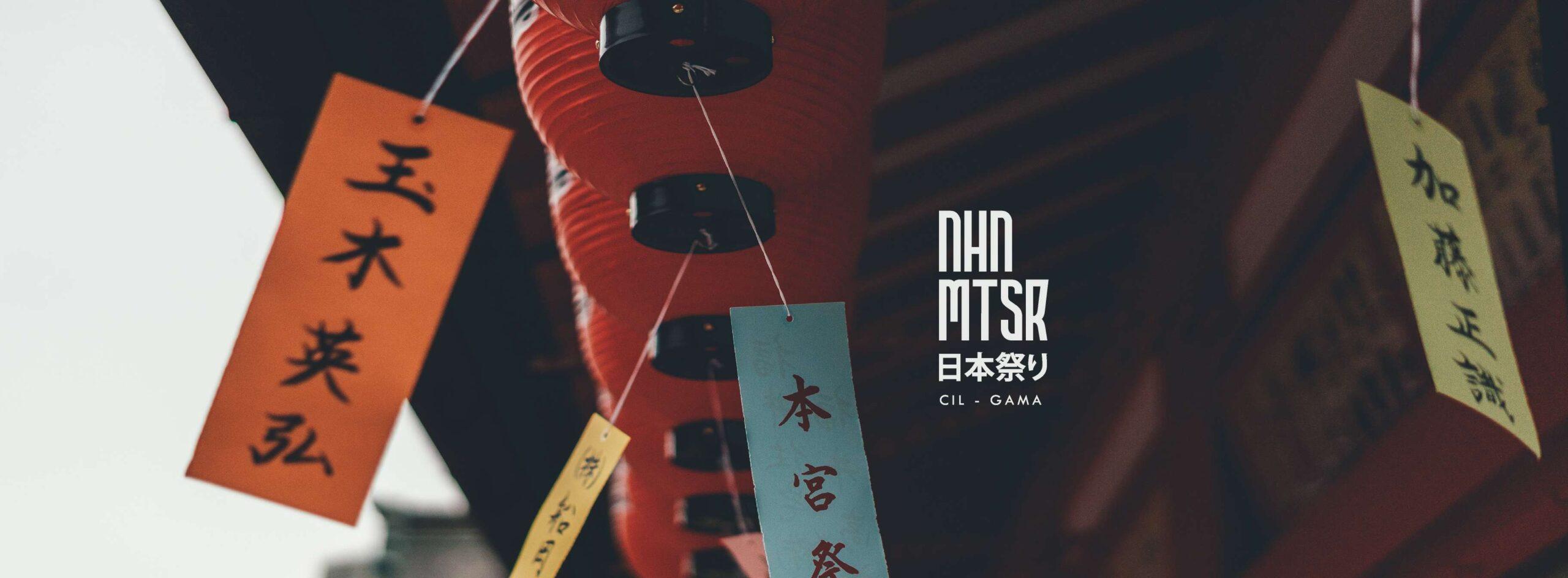 Imagem de mensagens japonesas com o logo do Nihon Matsuri